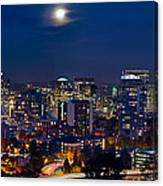 Moon Over Portland Oregon City Skyline At Blue Hour Canvas Print