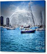 Moon Over The City Harbor Canvas Print