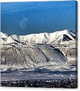 Moon Over The Snow Covered Mountains Canvas Print