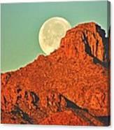 Moon Over Tucson Mountains Canvas Print
