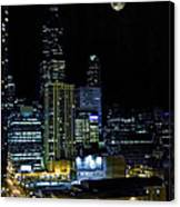 Moon Rise Over Downtown Chicago And The Willis Tower #2 Canvas Print