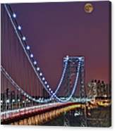 Moon Rise Over The George Washington Bridge Canvas Print