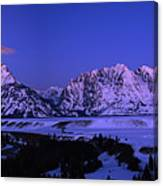 Moon Sets Over Behind The Tetons Panorama Canvas Print