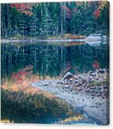 Moon Setting Fall Foliage Reflection Canvas Print