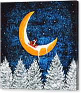 Moon Sledding Canvas Print