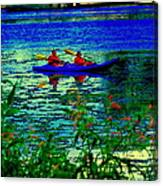 Moonlight Kayak Ride Along The Coastline Of The Lachine Canal Quebec Sea Scenes Carole Spandau Canvas Print