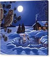 Moonlight Magig-great Horned Owls Canvas Print