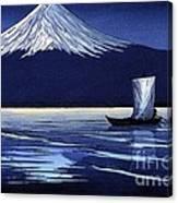 Moonlight On Fujiyama Canvas Print