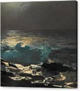 Moonlight. Wood Island Light Canvas Print