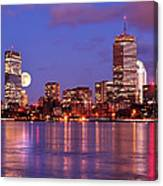 Moonlit Boston On The Charles Canvas Print