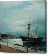 Moonlit Harbour Of Volos Canvas Print