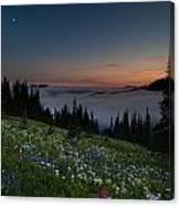 Moonlit Rainier Meadows Sunset Canvas Print