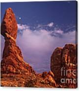 Moonrise At Balanced Rock Arches National Park Utah Canvas Print
