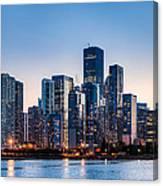 Moonrise Over Chicago Skyline Canvas Print
