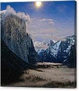 Moonrise Over Yosemite National Park Canvas Print