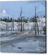 Moonset At Mammoth Terrace-yellowstone Canvas Print