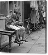 Boys Reading Comics In Moore Street Dublin Canvas Print