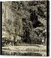 Moored Boat By The River In Tam Coc Canvas Print
