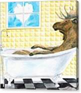 Moose Bath, Moose Painting, Moose Print, Bath Painting, Bath Print, Cottage Art Canvas Print