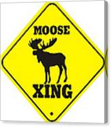 Moose Crossing Sign Canvas Print