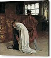 Morelli, Domenico 1826-1901. The Kiss Canvas Print