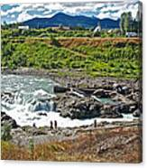 Moricetown Falls And Canyon Fishing Operation On The Bulkley River In Moricetwown-british Columbia  Canvas Print