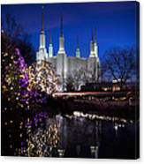 Mormon Church At Christmas Canvas Print