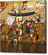 Morning Bathing At Kedar Ghat Canvas Print