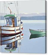 Morning Calm-fishing Boat With Skiff Canvas Print