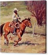 Morning Commute Working Cowboy Western Art Canvas Print