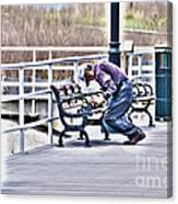 Morning Exercise On The Boardwalk Canvas Print
