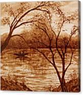 Morning Fishing Original Coffee Painting Canvas Print