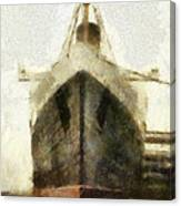 Morning Fog Queen Mary Ocean Liner Bow 03 Long Beach Ca Photo Art 02 Canvas Print