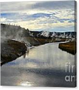 Morning In Upper Geyser Basin In Yellowstone National Park Canvas Print