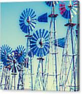 Morning Light On  The Blue Windmills Canvas Print