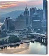 Morning Light Over The City Of Bridges Canvas Print