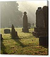 Morning Mist At The Cemetery Canvas Print