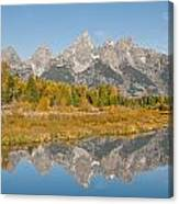 Morning Reflection Of The Teton Range Canvas Print