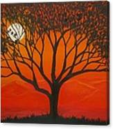 Morning Tree-with Yellow And Orange Sky Lit By Dawn Sun Canvas Print