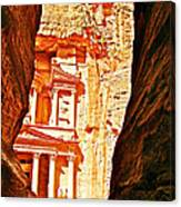 Morning View Of The Treasury From The Gorge In Petra-jordan  Canvas Print