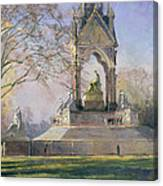Morning Visitors To The Albert Memorial Oil On Canvas Canvas Print