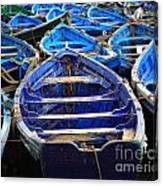 Moroccan Blue Fishing Boats Canvas Print