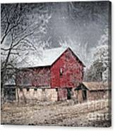 Morris County Red Barn In Snow Canvas Print