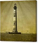 Morris Island Light Vintage Bw Uncropped Canvas Print