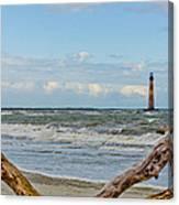 Morris Island Light With Driftwood Canvas Print