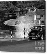 Morris Minor And The Wave Canvas Print