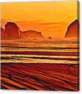 Morro Rock Painting Canvas Print