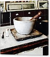 Mortar And Pestle In Apothecary Canvas Print