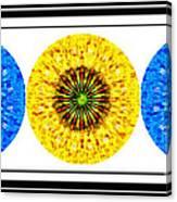 Mosaic Blue Circles With Yellow Canvas Print