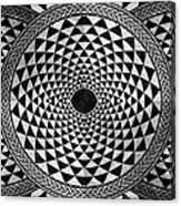 Mosaic Circle Symmetric Black And White Canvas Print